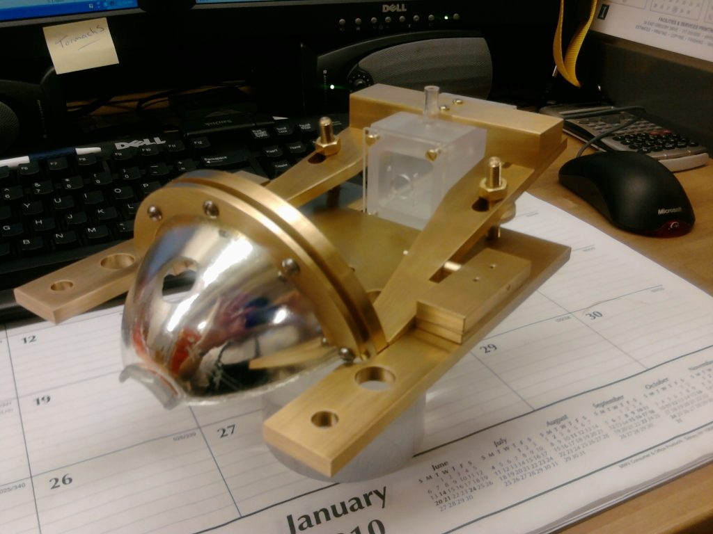 Optical instrument machined in the shop for a MechSE research project.